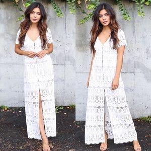 White Crochet Lace Maxi Dress
