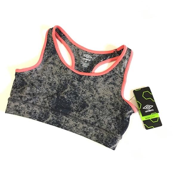 c2f4c278659d7 NWT Umbro Motion Control Sports Bra Charcoal Pink