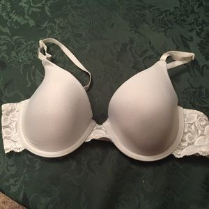 White bra with lace straps