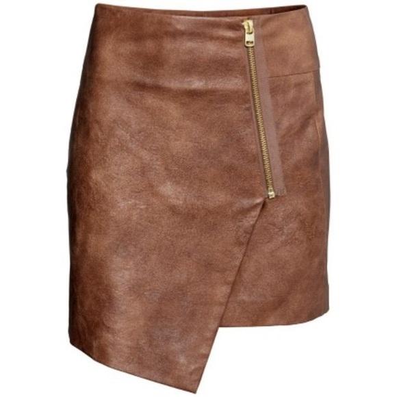 47% off H&M Dresses & Skirts - Asymmetrical faux leather wrap ...