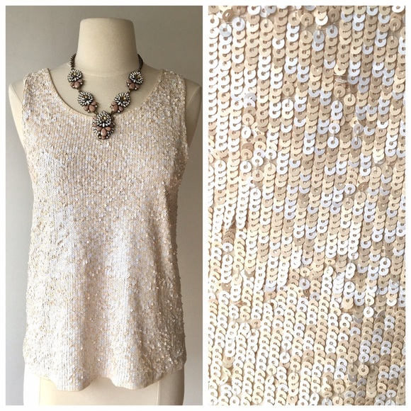 15666d7f9f426 J. Crew Tops - J Crew nude and white sequin tank top