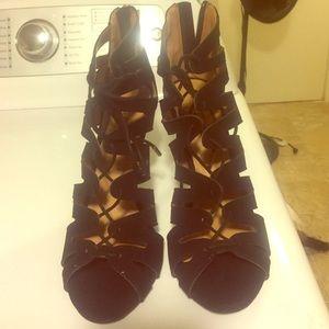 9 pump heel black sandal peep toe lace up