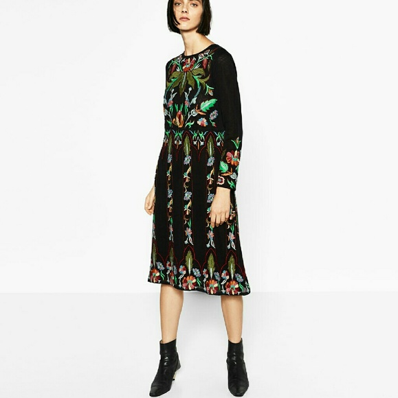 Zara Dresses Limited Edition Embroidered Dress 6895 Poshmark