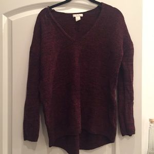 Knit burgundy h&m v neck sweater