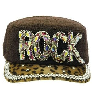 Brown Rock Hat Cap Animal Print Stone Stud Detail