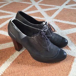 Camper Shoes - Camper navy blue wooden lace up heels