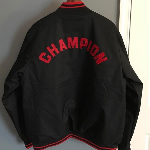 Champion Jackets Coats Varsity Jacket Black Red Poshmark