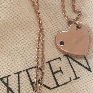 Wren Jewelry - WREN ROSE GOLD HEART W SAPPHIRE NECKLACE