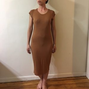 BooHoo Tan Midi Dress