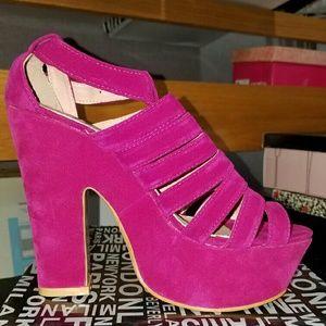 Pink velvet platforms