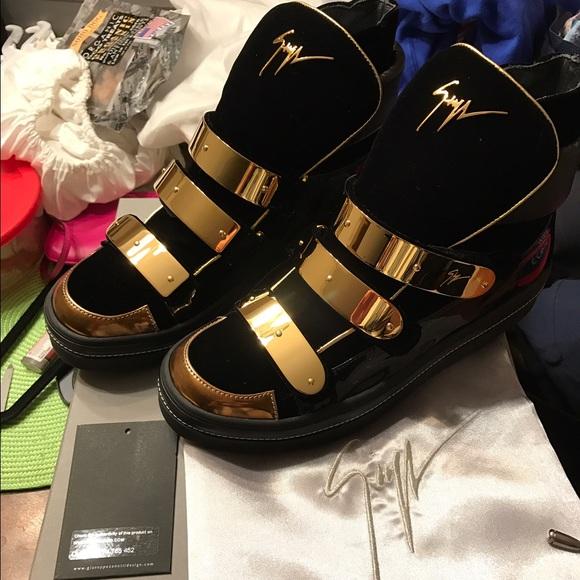 f47a88b543eeb Giuseppe Zanotti Shoes | Black Velvet Gold Buckle Hightop | Poshmark