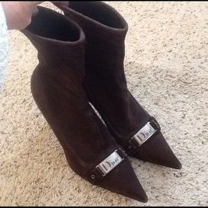 Dior Shoes - DIOR SIGNATURE BROWN LEATHER ANKLE BOOTS BOOTIES