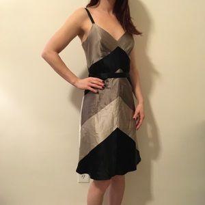Free People Dresses & Skirts - BCBGMaxAzria Brown & Tan Silk Colorblock Dress