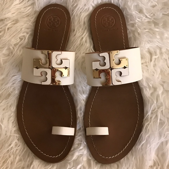 818236148 Tory Burch Lowell flat slide sandal white cream. M 587a4666680278db2800674a