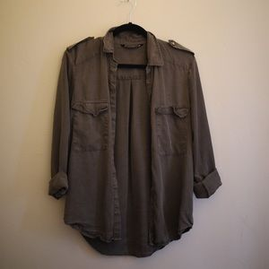 Olive Army Green Zara Button Down Up Pocket Shirt
