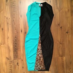 Rum and Coke Dresses & Skirts - Rum & Coke turquoise black leopard stretch dress