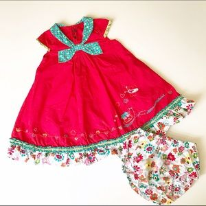 Catimini Other - Catimini red dress with turquoise bow
