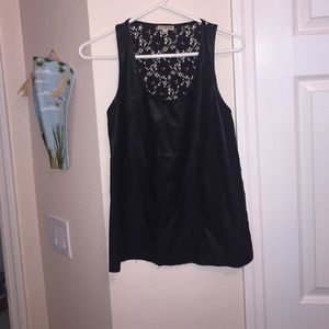 Lily White Tops - Faux leather and lace tank top