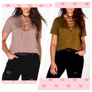 Boohoo Plus Tops - PLUS Boho Lace up tee mocha or olive NWT