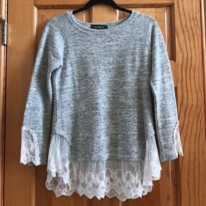 goodnight Macaroon  Sweaters - Long Sleeve Lace Trimmed Sweater
