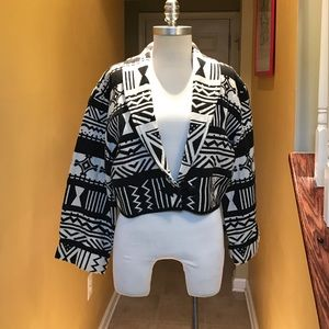 Flashback  Jackets & Blazers - Ethnic Black and White Design Cotton Jacket Sz L😘