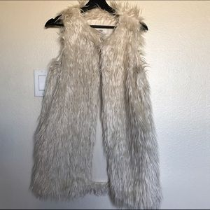 Cream Faux Fur Long Vest - Size S/M