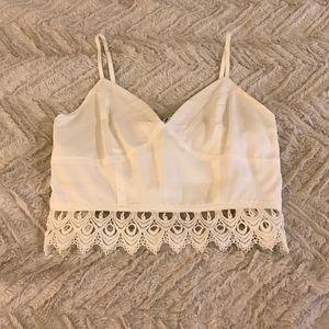 White lace trim crop top!