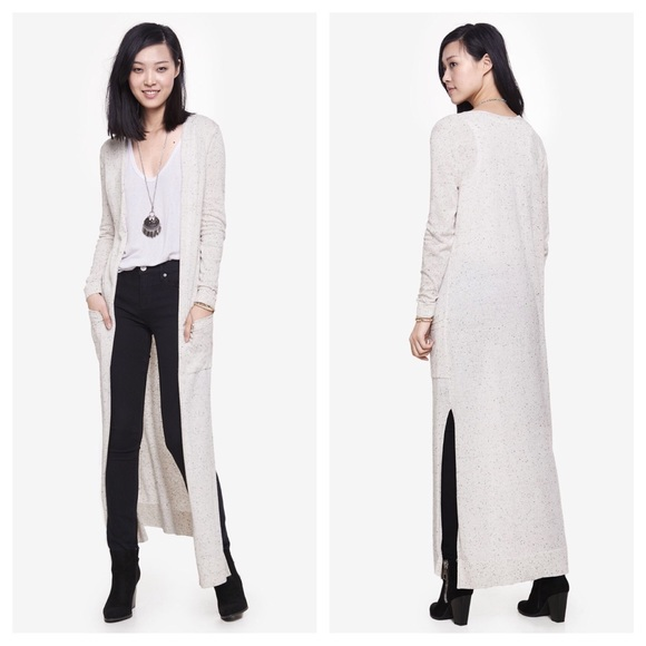 75% off Express Sweaters - Express Knit Ivory Speckled Maxi ...