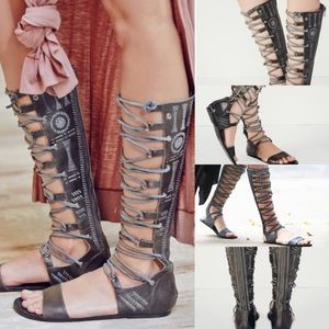 Free people bellflower lace up gladiator sandals