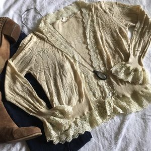 Anthropologie Sweaters - 🆕 Nick & Mo delicate ivory frilly lace cardigan