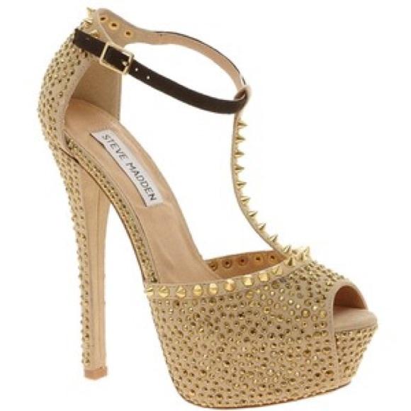 Steve Madden - Steve Madden Angelz gold spiked heels size 8.5 from ...