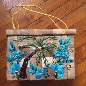 Vintage blue floral straw bag