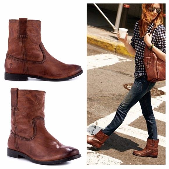 ea9d90849fd Frye Anna Shortie ankle boots cognac