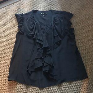 Black Silk Ruffle Front Blouse w Grosgrain Detail