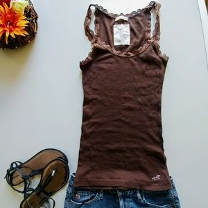 Hollister Stretch Brown Ribbed Lace TrimTank.