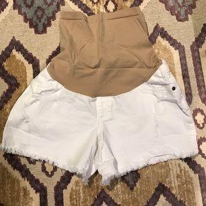 Jessica Simpson white denim maternity shorts