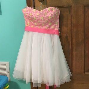 Teeze Me Dresses & Skirts - Strapless white and orange Dillard's party dress