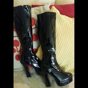 Pleasure Shoes - 🐞Size 6 Black knee High vinyl gogo platform Boots