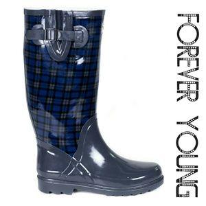 Women Tall Rain Boots #1407, Blue Plaid