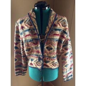 Aztec Multicolor Jacquard Boho Lightweight Jacket