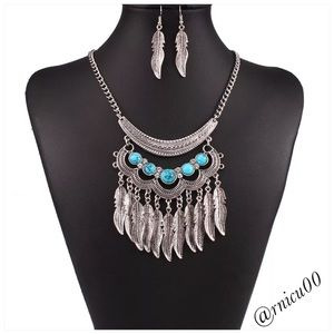 Boho Feather Necklace Earring Tibetan Silver Set