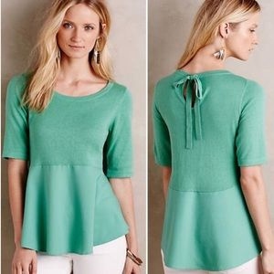 Anthropologie Tops - New moth anthropologie peplum sweater bow back m