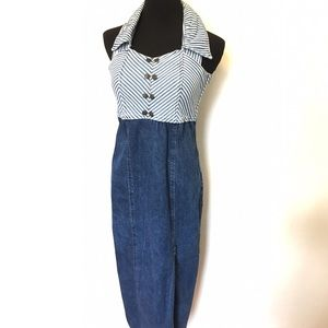 Vintage 90's Denim Jean halter dress