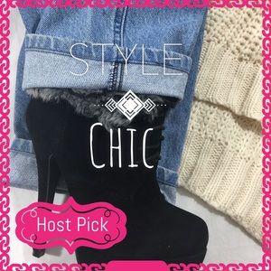 Glaze  Shoes - Glaze Nicole 18 Black Fur Cuff Lace Up Ankle Boots