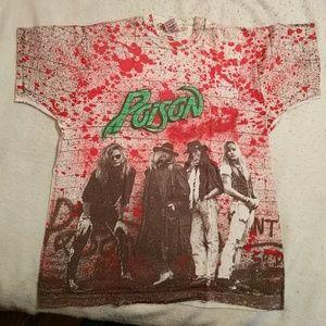 Poison Flesh /& Blood Concert Tour 90/'s Men/'s T Shirt Album Cover Vintage Rock