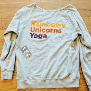 Tops - Rainbows Unicorns Yoga Grey sweatshirt size large