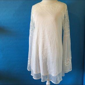 Nasty Gal Dresses & Skirts - White boho bell sleeve dress