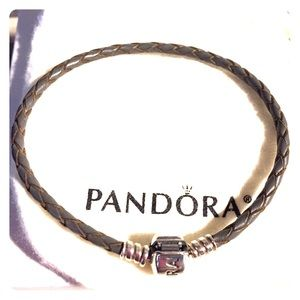 PANDORA CHARCOAL GREY LEATHER BRACELET