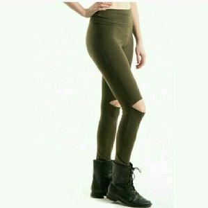 Fashionomics Pants - !Host Pick! Olive Cut-Knee Leggings
