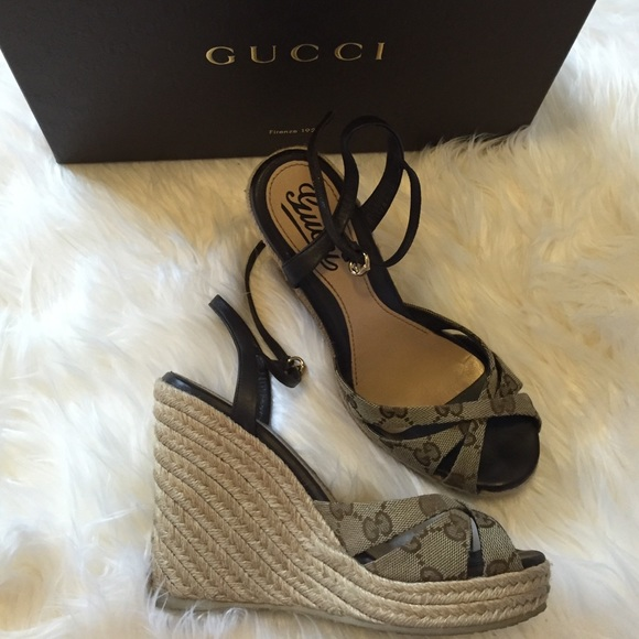 f0615408ef71 Gucci Shoes - Gucci Wedges Nappa Charlotte 36 1 2